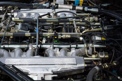 The engine compartment (engine) of a Jaguar XJS V12 Royalty Free Stock Photo