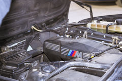 Engine compartment, motor m-power, old-car BMW Stock Photos