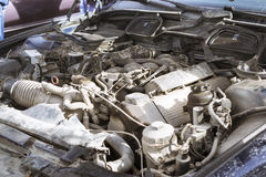 Engine compartment, Old-car BMW 5-series e34 Royalty Free Stock Image