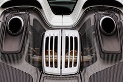 Engine compartment, vents, exhaust of exotic super sports car  Royalty Free Stock Images