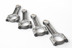 Engine connecting rods. Set of automotive connecting rods isolated on a white background Stock Images