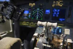 Engine control in the cockpit of an airliner Royalty Free Stock Image