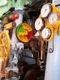 Engine Control Station. Steam Engine Control Station on Whaling Ship Stock Image