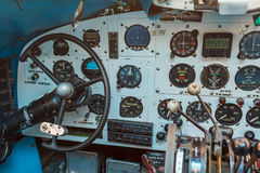 Engine Controls and other devices in the cockpit. Of an old airplane Royalty Free Stock Photos
