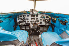 Engine Controls and other devices in the cockpit. Of an old airplane Stock Photography