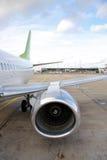 Engine d'avion, aile, arrière Image stock