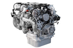 Engine de camion lourd d'isolement Images stock