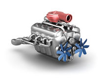 Engine de V8 avec le turbocompresseur au-dessus du blanc Photographie stock libre de droits