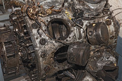 Engine destroyed of an old military aircraft Royalty Free Stock Photography