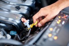 Car detailing series : Cleaning car engine. Close-up engine. Engine detailing in a new car. Car check before purchase. The concept of buying a new car Stock Photos