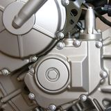 ENGINE DETAILS. External components of a powerful motorcycle engine. Close-up Royalty Free Stock Photo
