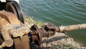 Engine driving aerator water turbines stock footage