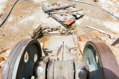 Engine electric lever machine industrial equipment mechanism. Royalty Free Stock Images