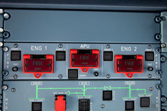 Engine fire warning switches royalty free stock photos