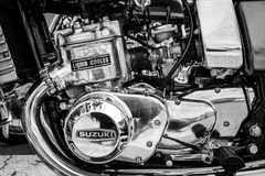 Engine of the first Japanese motorcycle with a liquid-cooled engine Suzuki GT750 Stock Images