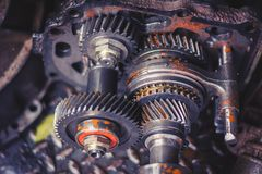 Engine gear wheel with dirty oil and rust Stock Photo