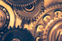 Engine gear wheels. Industrial background Royalty Free Stock Images