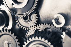 Engine gear wheels, industrial background Royalty Free Stock Photos