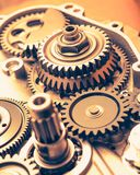 Engine gear wheels, industrial background. Closeup view Stock Photography