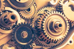 Engine gear wheels, industrial background. Closeup view Stock Images