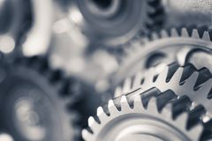Engine gear wheels, industrial background Stock Image