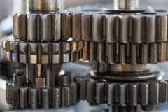 Engine gear wheels, industrial background, stock image