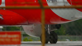 Engine and gears of airplane close up stock video