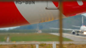 Engine and gears of airplane close up stock footage
