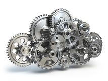 Engine gears in form of cloud isolated on white. Cloud computing Stock Image