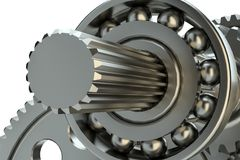 Engine gears wheels, closeup view Royalty Free Stock Photography
