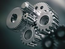 Engine gears wheels and cogwheels. Industrial background. 3d illustration Stock Photos