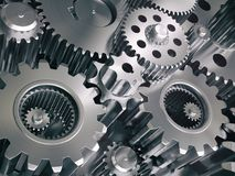 Engine gears wheels and cogwheels. Industrial background. 3d illustration Royalty Free Stock Image