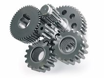 Engine gears wheels and cogwheels isolated on white background. 3d illustration Royalty Free Stock Photography