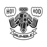 Engine hot rod muscle car speedster logo t-shirt poster banner vector royalty free illustration