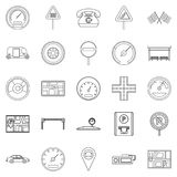 Engine icons set, outline style. Engine icons set. Outline set of 25 engine vector icons for web isolated on white background Royalty Free Stock Image