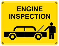 Engine inspection - sign Stock Photography
