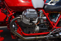 Engine of the Italian motorcycle Moto Guzzi V7 Royalty Free Stock Photo