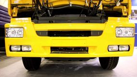 Engine jacket of yellow motor truck stock video