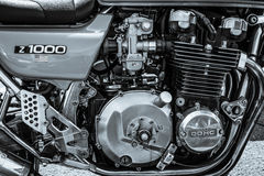 Engine of the Japanese motorcycle Kawasaki Kz1000. Royalty Free Stock Images