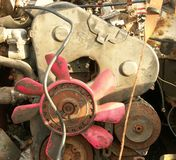 Engine in junked vehicle Royalty Free Stock Photo