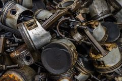 Engine junkyard. That old, cracked engine block may still have some life in it: it`s recyclable. Several businesses devote themselves to the removal of such Stock Photography