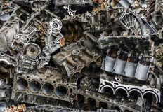 Engine junkyard. That old, cracked engine block may still have some life in it: it`s recyclable. Several businesses devote themselves to the removal of such Stock Photos