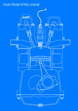 Engine Line Drawing Blueprint Stock Photography