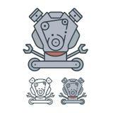 Engine logo gasoline diesel robot. With keys Royalty Free Stock Image