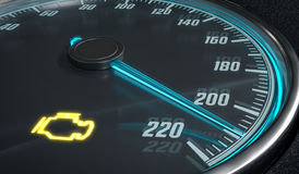 Engine malfunction warning light control in car dashboard. 3D rendered illustration Royalty Free Stock Photos