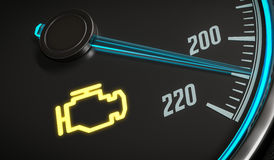 Engine malfunction warning light control in car dashboard. 3D rendered illustration Stock Image