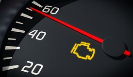 Engine malfunction warning light control in car dashboard. 3D rendered illustration. Royalty Free Stock Photos
