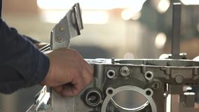 Engine manufacturing process. stock video