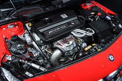 Engine of Mercedes-Benz A45 AMG Stock Photo