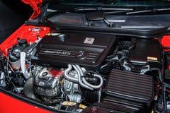 Engine of Mercedes-Benz A45 AMG Stock Photos